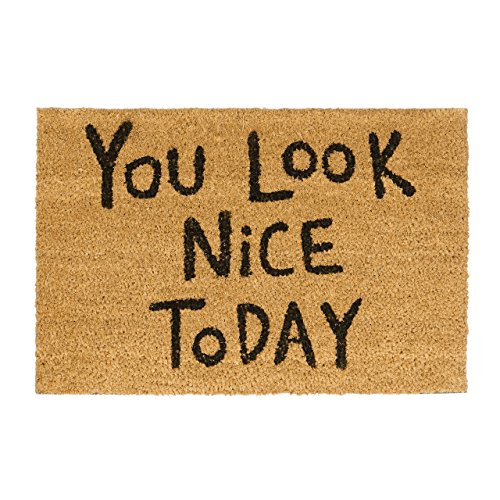 Relaxdays Fußmatte Kokos Spruch YOU LOOK NICE TODAY 40 x 60 Kokosmatte mit rutschfester PVC Unterlage Fußabtreter aus Kokosfaser als Schmutzfangmatte und Eingangsmatte Kokos Gummi Türvorleger, natur