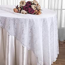 Wedding Linens Inc. 108 inch Lace Table Overlays, Lace Tablecloths Round, Lace Table Overlay Linens, Lace Table Toppers for Wedding Decorations, Events Banquet Party Supplies – White