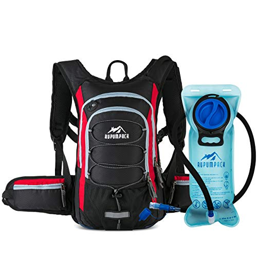 RUPUMPACK Insulated Hydration Backpack Pack with BPA Free 2L Water Bladder - Keeps Liquid Cool up to 4 Hours, Prefect Outdoor Gear for Hiking, Running, Cycling, Camping, Skiing, 15L (Black + Red)