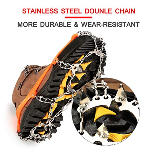 Sunzel Traction Cleats, Upgraded Version of 19 Teeth Stainless Steel