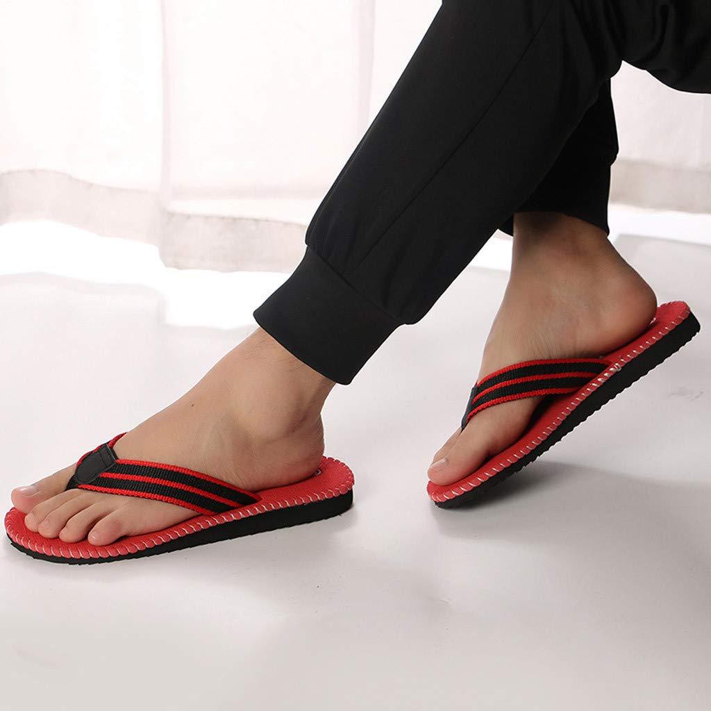 kaifongfu Summer Fashion Men's flip Flops Beach Sandals for Men Flat Slippers Non-Slip Shoes(Red,44) by kaifongfu (Image #4)