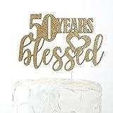 NANASUKO 50th Birthday Cake Topper - 50 years blessed - Premium quality Made in USA, Gold Glitter