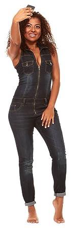 444ca5daa579 V.I.P. JEANS Women s Skinny Sleeveless Zip Up Denim Jumpsuit Romper