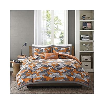Mizone Lance 4 Piece Comforter Set, Orange, Full/Queen - Set included: 1 comforter, 2 standard shams, 1 decorative pillow Cover: 100Percent polyester filling: 100Percent polyester Measurements:86-by-90-inch comforter, 20-by-26-inch standard shams, 10-by-18-inch Oblong pillow - comforter-sets, bedroom-sheets-comforters, bedroom - 51u36cUDdvL. SS400  -
