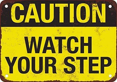 (Joeaney New Tin Sign Aluminum Retro Precaución Reloj su paso Metal Sign 8 X 12 Inch)