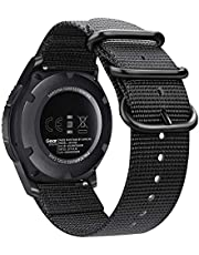 Bands Compatible with Galaxy Watch 46mm / Gear S3, Fintie Soft Woven Nylon 22mm Band Adjustable Replacement Sport Strap with Metal Buckle Compatible with Samsung Galaxy Watch 46mm / Gear S3 Classic Frontier, Black