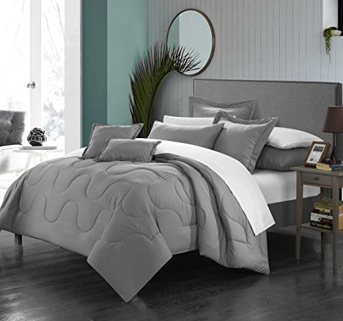 Perfect Home 5 Piece Demaria Bedding Basics, Down Alternative Solid color complete bedding ensemble, Twin, - Ensemble Bed Silver