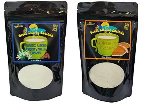 Great Life By Lucinda All Natural Gourmet Coffee Creamer - Variety 2 Pack of 8 Ounce Packages (Pumpkin Pie & Toasted Almond French Vanilla)
