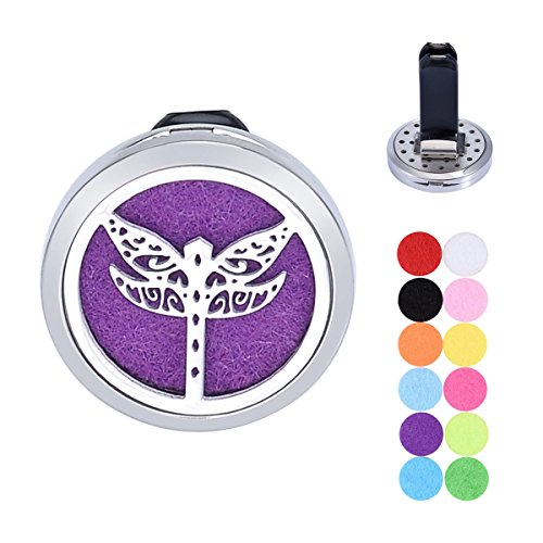 Tornado Dragonfly Aromatherapy Car Air Freshener Stainless Steel Essential Oil Diffuser Locket Vent Clip 12 Refill Pads