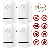 Petacc Ultrasonic Pest Repeller Electric Pest Control Plug-in Pest Repellent for Mosquito, Spider, Mouse and Cockroach, Certificated by CE, FCC, ROHS, Best for Indoor and Outdoor Use, Set of 4