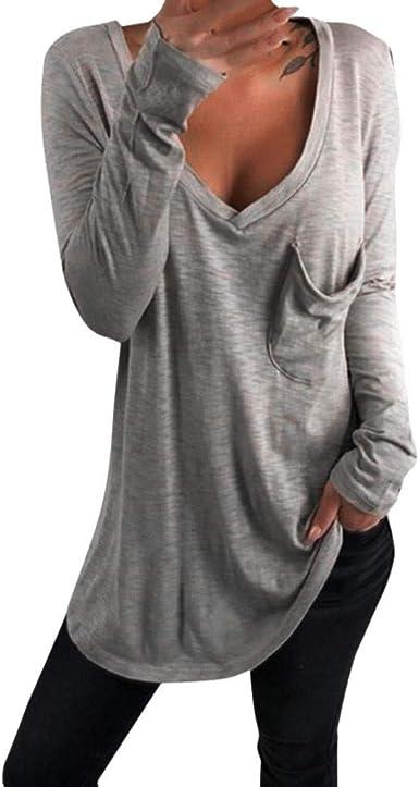 Camisa Suelta con Cuello en V Suelta para Mujer Talla Grande ...