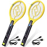 Tregini Mini Electric Fly Swatter 2 Pack - Rechargeable Bug Zapper Tennis Racket with Safe to Touch Mesh Net and Built-in Flashlight - Kills Insects, Gnats, Mosquitoes and Bugs