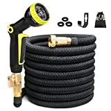 50ft Expandable Garden Hose, Expanding Water Hose No Kink, 50' Flexible Hose with 3/4 inch Solid Brass Fittings 9 Function Spray Nozzle, Lightweight Outdoor Gardening Yard Hoses (12 Months Guarantee)