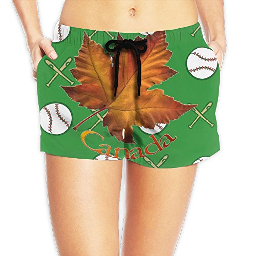 Decent Swimming Costume For Women (Canadian Maple Leaf Waist Shorts Women's Short SweatpantsLeisure Best Graphic)