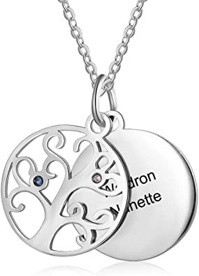 Personalized Family Name Heart Necklace Custom Jewelry 2 Birthstones for Family Members Mother Grandmother Wife children