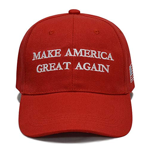 (Besti Make America Great Again Donald Trump Slogan with USA Flag Cap Adjustable Baseball Hat (Red 002))