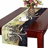 InterestPrint Savanna Elephant with Silhouettes Animals Giraffe Eagles Table Runner Cotton Linen Home Decor for Home Kitchen Wedding Party Banquet Decoration 16 x 72 Inches