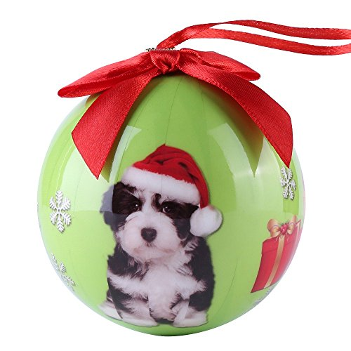 CueCue Pet CUECUEPET Christmas Winter Themed Decoration Shatterproof Memorial Ball with Top Bow-Havanese Puppy Holiday Ornament, One Size, Green
