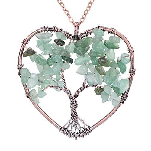 Pendant Necklace Natural Stone Quartz Semi-Precious Stone Necklaces Green aventurine