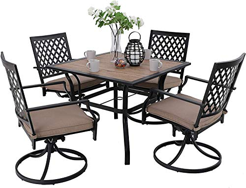 MFSTUDIO Metal Patio Dining Sets Club Bistro Bar Sets Swivel Dining Rocker Chair with 2.7″ Thick Cushions and Larger Square Table Furniture Set, Steel Frame, Set of 5