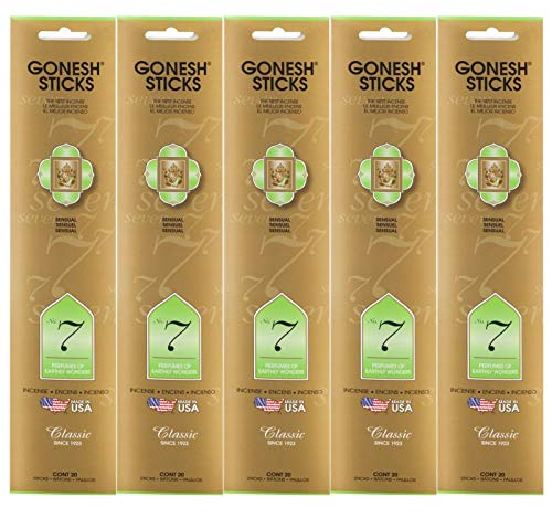Gonesh Incense Sticks Classic Collection - No. 7 Perfumes of Earthly Wonders 5 Packs (100 Total)