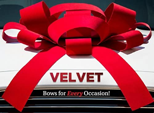 Giant 30 Bow CarBowz Big Red Velvet Car Bow Weather Resistant Vinyl Non Scratch Magnet