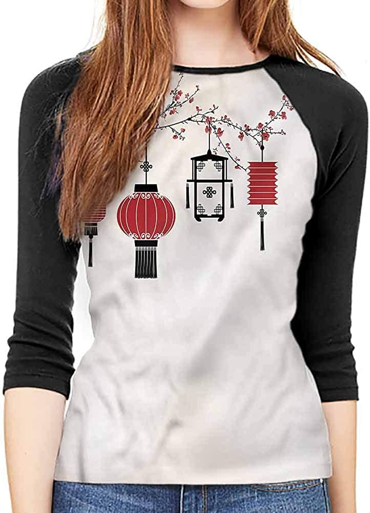 Lantern Long Sleeve Tee Tender Spring Flowers Bloom T-Shirt Loose Crew Neck Tops X-Large