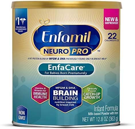 Enfamil NeuroPro EnfaCare Premature Newborn Baby Formula Milk Powder, 12.8 ounce - MFGM, Omega 3 DHA, Probiotics, Iron, Immune Support