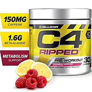 C4 Ripped Pre Workout Powder Raspberry Lemonade | Creatine Free + Sugar Free Preworkout Energy Supplement for Men & Women | 150mg Caffeine + Beta Alanine + Weight Loss | 30 Servings