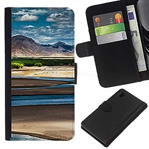 Ihec-Tech / Flip PU Cuero Cover Case para Sony Xperia Z1 L39H - Nature Beautiful Forrest Green 54