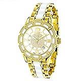 Ladies Diamond Ceramic Watch 1.25ctw of diamonds by Luxurman White MOP Galaxy Yellow Gold