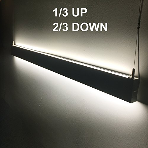 EULEEP Linear Suspension LED Lights, 95 inches 60W, Up And Down Double Side Light Emitting, Slim Line Modern Design Use For Office Lighting, Supermarket Lighting (95 INCH, WW3000K) - Light Linear Suspension