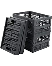 Readsky 4 Packs Collapsible Plastic Storage Baskets, Flat Folding Crate, Deep Gray