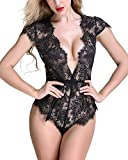#6: Anyou Women Lingerie Lace Teddy Features Plunging Eyelash and Snaps Crotch
