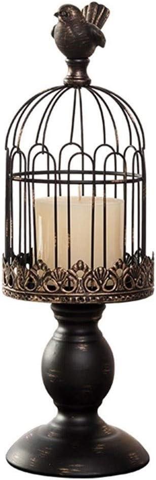Qazxsw Aves de América del candelabro candelabro decoración Europea Retro Jaula Boda Puntales Boda decoración de la Tabla del candelero,Negro,11 * 11 * 40cm