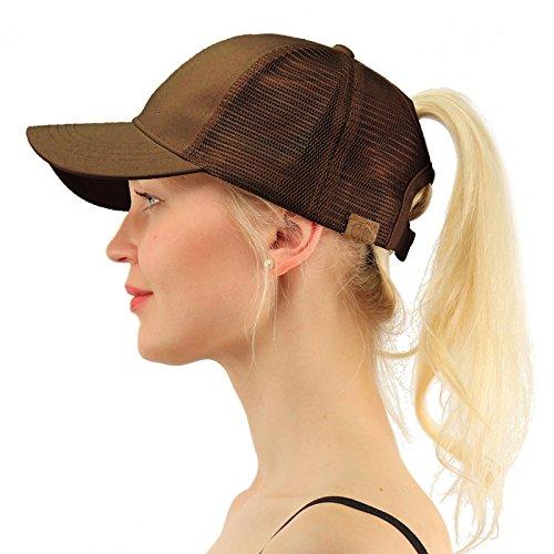 C.C Ponytail Messy Buns Trucker Ponycaps Plain Baseball Visor Cap Dad Hat (Brown Ball Cap)