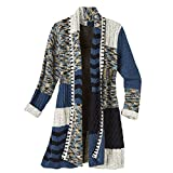 CATALOG CLASSICS Women's Cardigan - Hand-Knit Mix-Up Patches Open Front Sweater - 1X