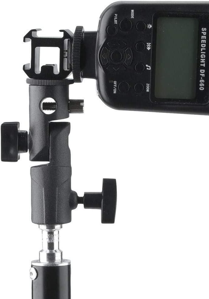 Swivel E-Mount Holder with Adjustable Screw Umbrella Hole for Microphone Flashlight fo sa Tri-Hot Shoe Mount Adapter with Flash Stand Holder