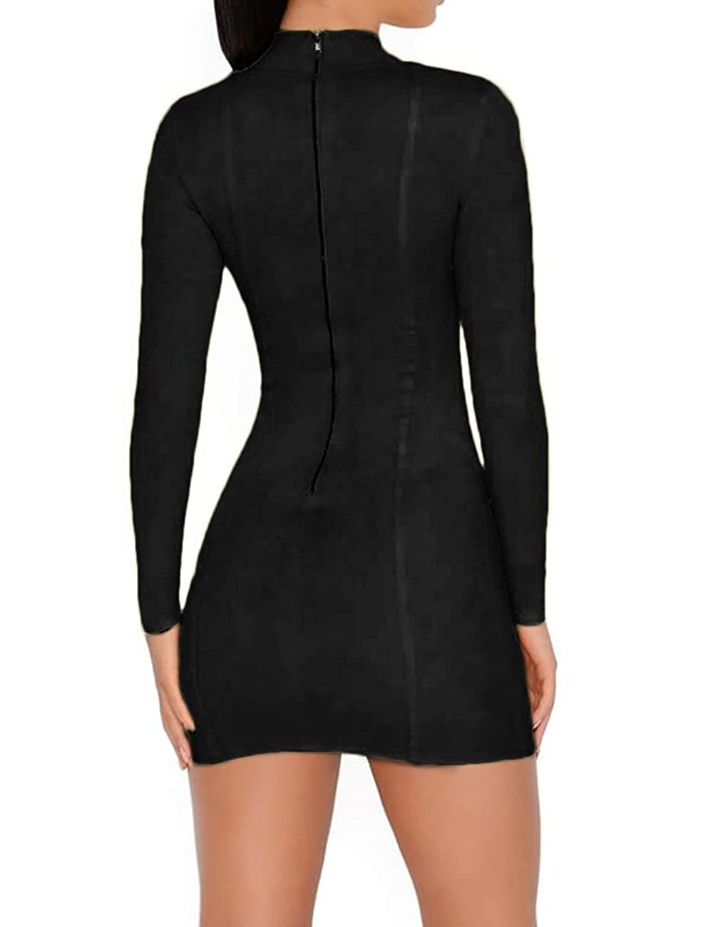 whoinshop Womens Long Sleeves Lace Up Open Front High Neck Clubwear Mini Party Bandage Dress