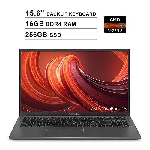 2019 ASUS VivoBook 15 15.6 Inch FHD 1080P Laptop (AMD Ryzen 3 3200U up to 3.5GHz, 16GB DDR4 RAM, 256GB SSD, AMD Radeon Vega 3, Backlit Keyboard, FP Reader, WiFi, Bluetooth, HDMI, Windows 10) (Grey)