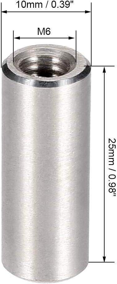 sourcing map Tuerca conector redondas M10x20mm de altura del manguito tuerca de v/ástago de acero inoxidable 304 5 PCS