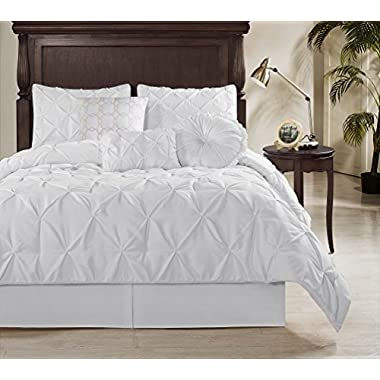Chezmoi Collection Sydney 7 Piece Pintuck Duvet Cover Set, Queen, White