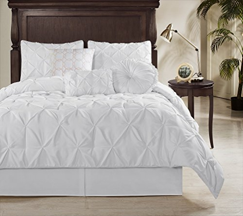 Contemporary Bedding Ensembles - Chezmoi Collection Sydney-Com Sydney 7 Piece Pintuck Comforter Set, White, Queen