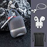 Linklike Stylish Waterproof AirPods 2 Case Cover [Front LED Visible] 5-in-1 AirPods Accessories Kits, Protective Silicone Skin Compatible Wireless Charging Case (Dark Gray w/red Plug, 5in1)