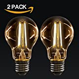 2 X paul russells Vintage Style Edison Screw LED Filament Bulbs 4W GLS Antique Globe A60 Light Decorate Home 360 Beam Lamp E27 ES 2200K Warm White 40W Incandescent Replacement [Pack of 2 Bulbs]