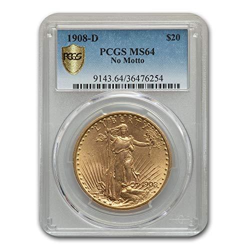 1908 D $20 St. Gaudens Gold No Motto MS-64 PCGS G$20 MS-64 PCGS