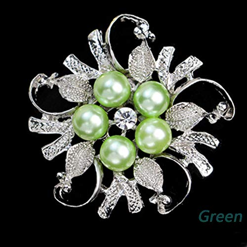 New Fashion Rhinestone Crystal Wedding Bridal Bouquet Flower Pearl Brooch Pin (Color - Green) ()