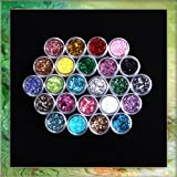 Generic 24X Mixcolor Glitter Powder Dust Nail Art Tip Decoration