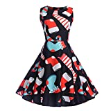 HHei_K Merry Christmas Womens Sexy Sleeveless Retro Printed Casual Party Prom A-Line Swing Dress