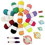 Pom Pom Maker Kits, Jerbro 6 Size Pompom Maker for Fluff Ball Weaver with 12 Acrylic Yarn Thread Cutter Scissors DIY Wool Yarn Knitting Craft Project